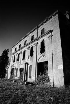 Fallen into ruin. Pentax LX, Pentax 24mm f2.8, Illford FP4, Dilute Rodinal.